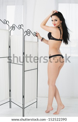 Beautiful young woman in black lingerie standing next to a folding screen - stock photo