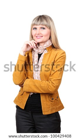 Beautiful young woman in bright jacket isolated on white - stock photo