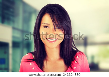 Beautiful young woman in casual clothes portrait - stock photo