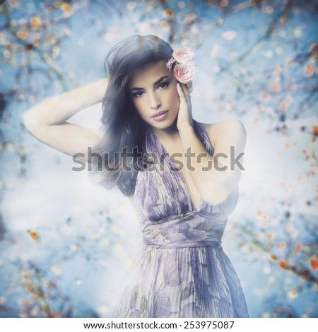 beautiful young woman in elegant dress and flowers in hair, photo compilation