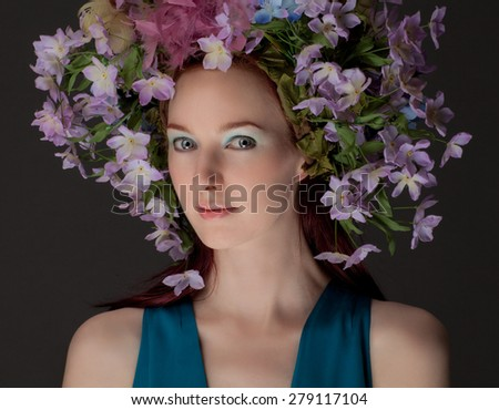 Beautiful Young Woman in Flower Crown