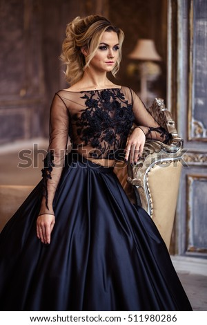 Beautiful Young Woman Gorgeous Black Evening Stock Photo 511980286 ...