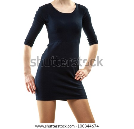 Beautiful young woman in mini dress posing on white background - stock photo