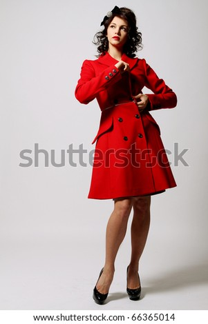 Woman Red Coat Stock Photos, Royalty-Free Images & Vectors ...
