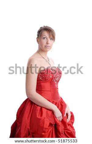 beautiful young woman in red evening dress on white background
