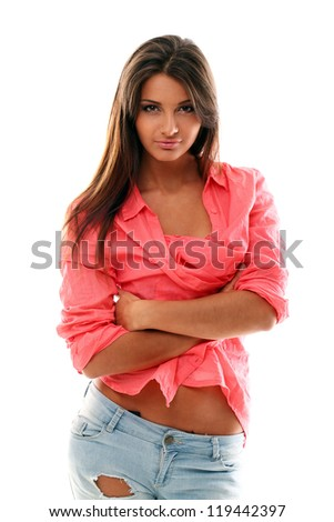 Beautiful young woman in red shirt over white background