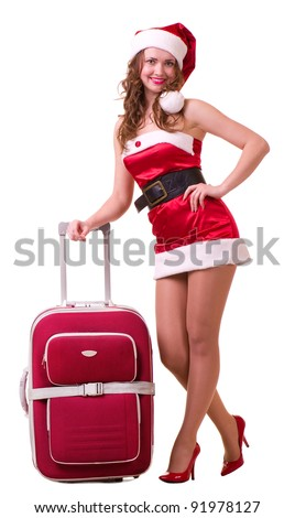 Beautiful young woman in Santa Claus clothes dreaming about vacation on white background
