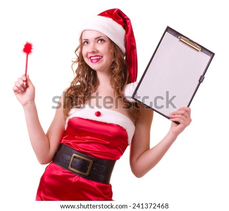 Beautiful young woman in Santa Claus clothes leaning on blank board on white background.