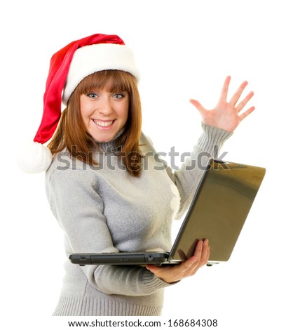Beautiful young woman in Santa Claus clothes with notebook on white background. - stock photo