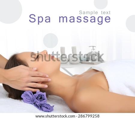 Beautiful young woman in spa salon - stock photo