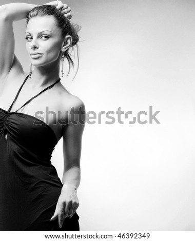Beautiful Young woman.  In studio. - stock photo