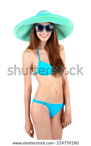 Beautiful young woman in swimsuit isolated on white - stock photo