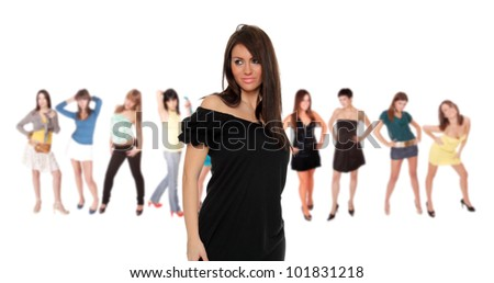 Beautiful young Woman  isolated on white background - stock photo