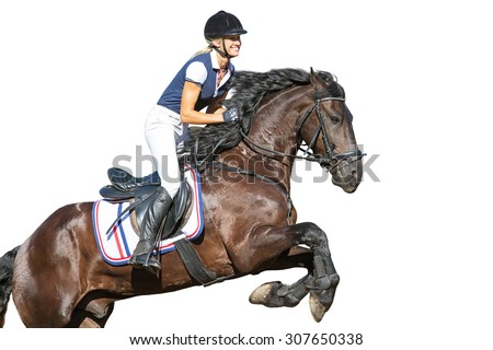 Beautiful young woman jumping on horse. - stock photo