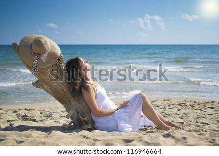 Beautiful young woman leans against a piece of driftwood on the beach - stock photo