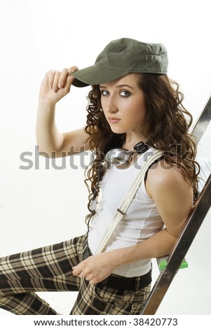 Beautiful young woman listen music. - stock photo