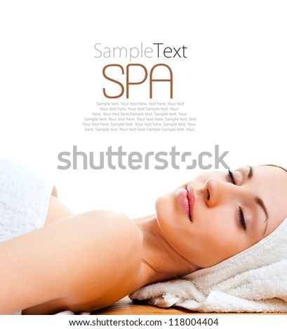 beautiful young woman lying relaxed over white with sample text - stock photo