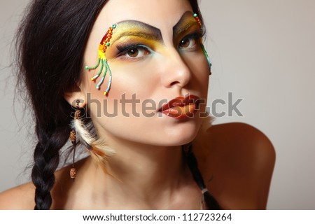 Beautiful young woman native American Indian, isolated - stock photo
