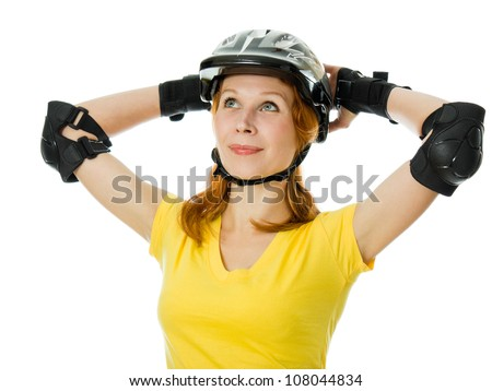 beautiful young woman on roller skates on a white background.