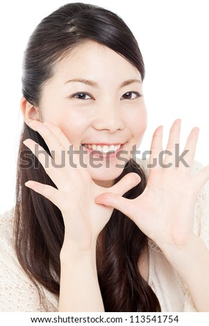 Beautiful young woman on white background. Portrait of asian.