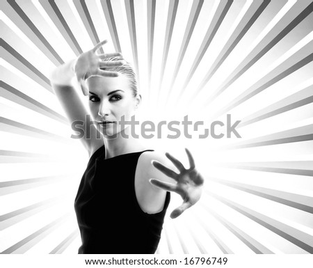 Beautiful young woman over abstract backround. - stock photo