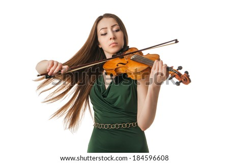 Beautiful young woman playing violin over white background - stock photo