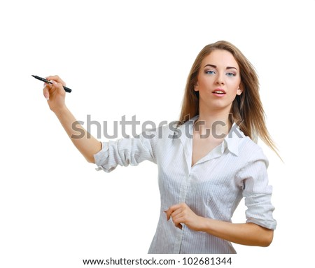 Beautiful young woman pointing and making a presentation