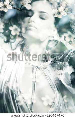 beautiful young  woman portrait, double exposure  - stock photo
