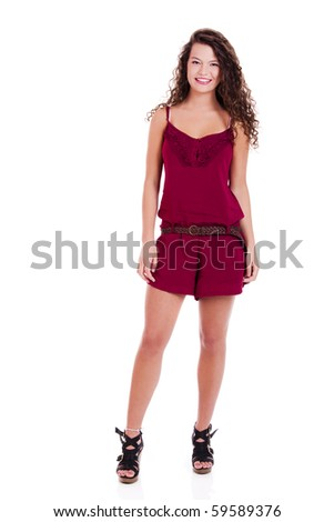 Beautiful young woman portrait isolated on white - stock photo