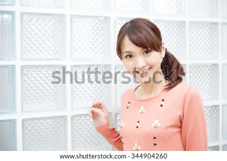 Beautiful young woman. Portrait of asian. - stock photo