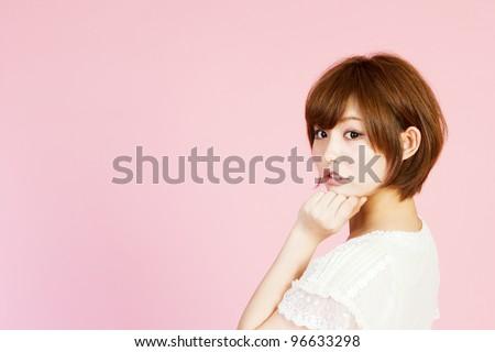 Beautiful young woman. Portrait of asian woman. - stock photo