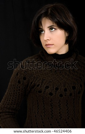 beautiful young woman portrait on a color background