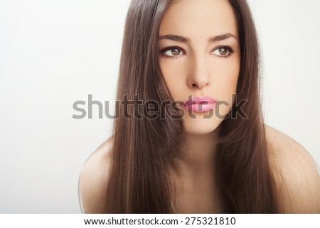 beautiful young woman portrait, studio white