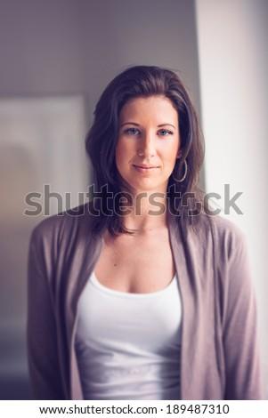 beautiful young woman posing - stock photo
