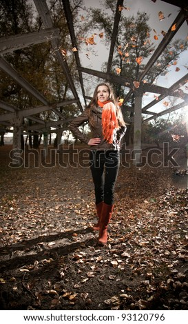 Beautiful young woman posing in autumn park - stock photo