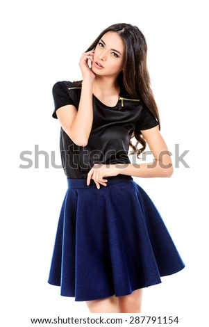 Beautiful young woman  posing over white background. Beauty, fashion concept. - stock photo