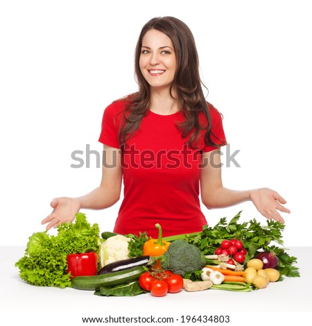 Beautiful young woman posing with vegetables, isolated on white