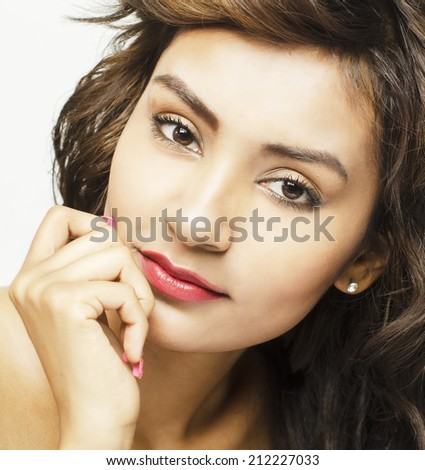 Beautiful young woman pretty face