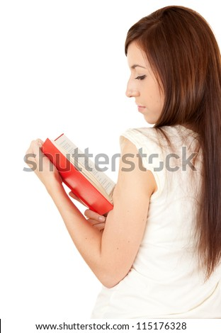 beautiful young woman reading book, white background - stock photo