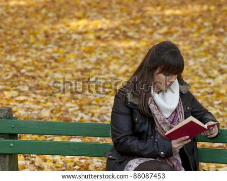 Beautiful young woman reads book - stock photo