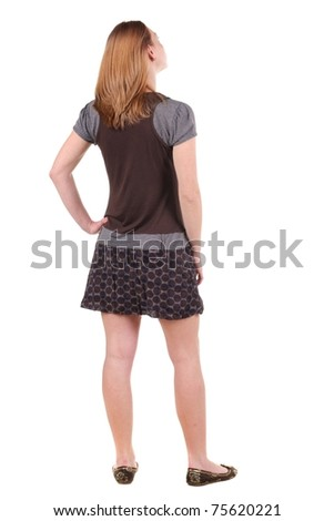 Beautiful young woman. rear view . - stock photo