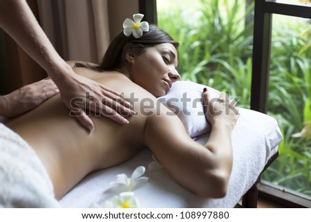 beautiful young woman relax in spa situation - stock photo