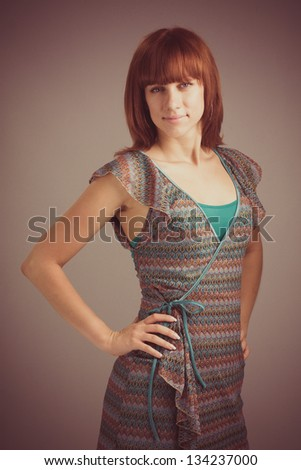 Beautiful Young Woman Retro Portrait. Vintage Styled. - stock photo