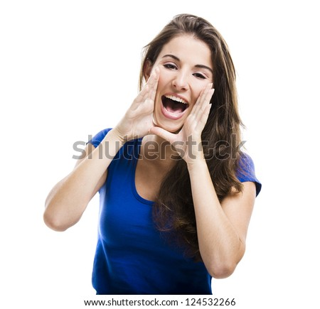 Beautiful young woman shouting, isolated over a white background