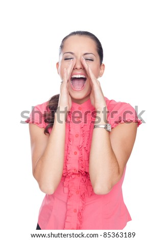 beautiful young woman shouting through hands isolated on white background
