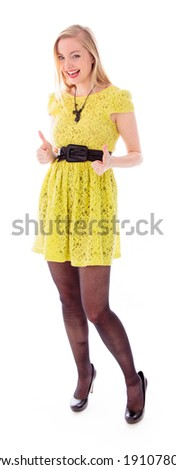 Beautiful young woman showing thumbs up sign with both hands