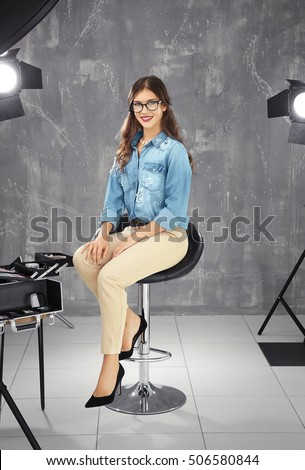 Woman Sitting On Stool Stock Images Royalty Free Images