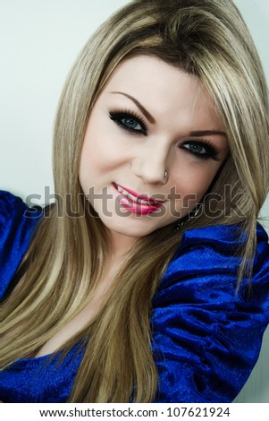 Beautiful Young Woman Smile With Make Up - stock photo