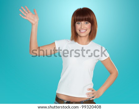 beautiful, young woman, smiling and waving her hand, on blue background - stock photo