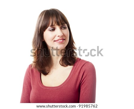 Beautiful young woman smiling, isolated on a white background